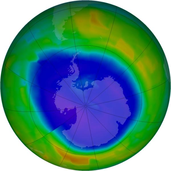 Stan dziury ozonowej 11 września 2011 r. (NASA/Ozone Hole Watch)