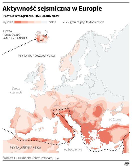 Aktywność sejsmiczna w Europie (PAP/DPA/Maciej Zieliński)