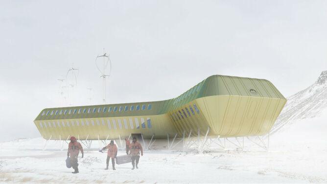 """""""Ten budynek chce nam odlecieć"""". <br />Smaga go wiatr, przykrywa śnieg"""